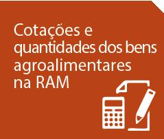 Cotações e quantidades dos bens agroalimentares da RAM