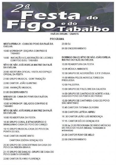 festa do figo e do tabaiboPROGRAMA